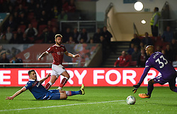 Bristol City's Matt Taylor (centre) scores his side's second goal of the game during the Carabao Cup, third round match at Ashton Gate Stadium, Bristol.