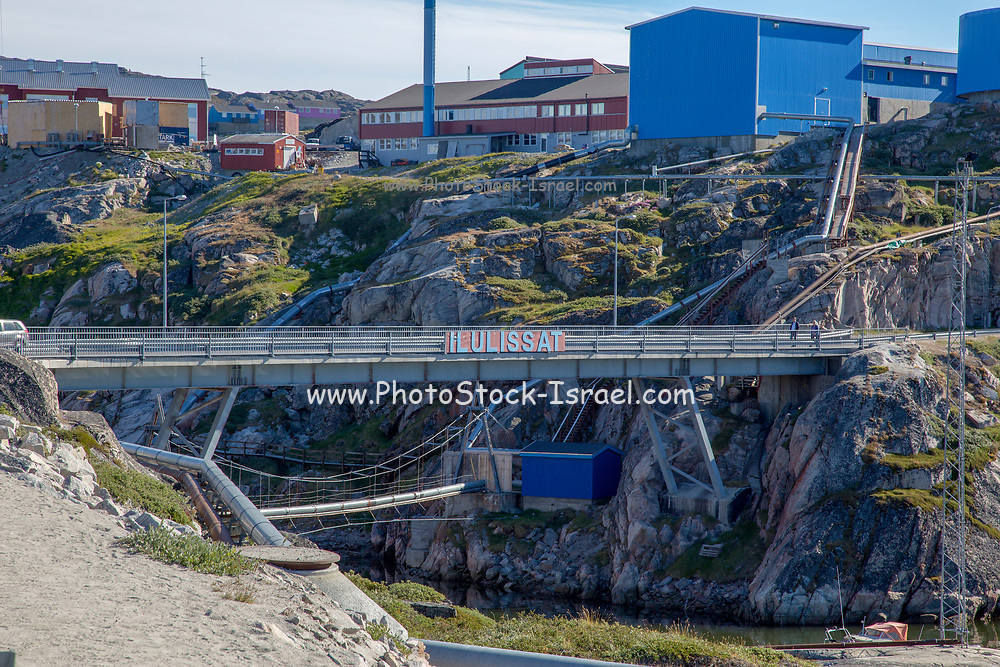 A sign on a bridge announcing the town of Ilulissat, Greenland