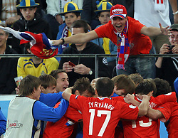 Team Russia celebrates during the UEFA EURO 2008 Group D soccer match between Sweden and Russia at Stadion Tivoli NEU, on June 18,2008, in Innsbruck, Austria. Russia won 2:0. (Photo by Vid Ponikvar / Sportal Images)