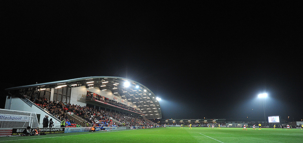 A night time view of the stadium<br /> <br /> Photographer Dave Howarth/CameraSport<br /> <br /> Football - The Football League Sky Bet League One - Fleetwood Town v Barnsley - Wednesday 17th September 2014 - Highbury Stadium - Fleetwood<br /> <br /> © CameraSport - 43 Linden Ave. Countesthorpe. Leicester. England. LE8 5PG - Tel: +44 (0) 116 277 4147 - admin@camerasport.com - www.camerasport.com
