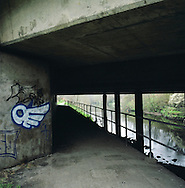 An underpass next to the river Mersey in the Mersey Vale Nature Park in Stockport. The Mersey is a river in north west England which stretches for 70 miles (112 km) from Stockport, Greater Manchester, ending at Liverpool Bay, Merseyside. For centuries, it formed part of the ancient county divide between Lancashire and Cheshire.