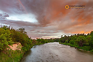 Colorful sunrise clouds over the Niobrara River near Valentine, Nebraska, USA