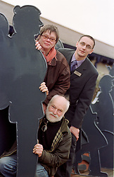 Regimes,Revenue and Minor Works Manager Stuart Rands (Right), Xceptional Designs Artists Peter Rogers (Front) and Alex Hallows (Left) with one of the Artworks now installed at the Barnsley Interchange