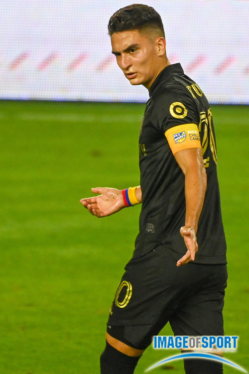 LAFC midfielder Eduard Atuesta (20) during a MLS soccer game, Sunday, Sept. 27, 2020, in Los Angeles. The San Jose Earthquakes defeated LAFC 2-1.(Dylan Stewart/Image of Sport)