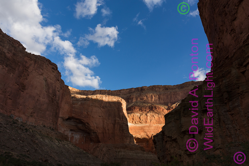 First sunlight on the inner rim of the Grand Canyon at Mile 47, Sequence 2, © David A. Ponton