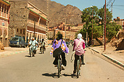 bicycle and scooter traffic in a remote, rural village in Morocco