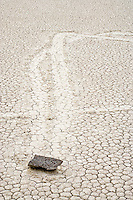 Sliding rock on The Racetrack Playa in Death Valley National Park, California, USA