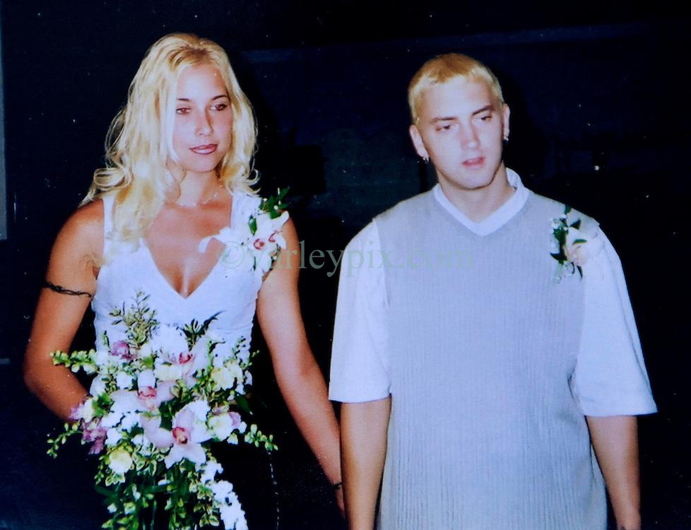 19 Jan,2006. Collect photograph.   Happier days near St Joseph, Kansas.  Marshall Bruce Mathers III, aka Eminem at his first wedding to Kimberly Anne Scott in 1999.<br /> Photo Credit: Kresin via  www.varleypix.com