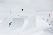 British freestyle skier Isabel Atkin during spring training on 05th May 2017 in Corvatsch, Switzerland. Piz Corvatsch is a mountain in the Bernina Range of the Alps, overlooking Lake Sils and Lake Silvaplana in the Engadin region of the canton of Graubünden.