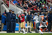 San Francisco 49ers wide receiver Marquise Goodwin (11) makes a long catch against the Seattle Seahawks at Levi's Stadium in Santa Clara, Calif., on November 26, 2017. (Stan Olszewski/Special to S.F. Examiner)