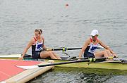 Eton Dorney, Windsor, Great Britain,..2012 London Olympic Regatta, Dorney Lake. Eton Rowing Centre, Berkshire[ Rowing]...Description;   Women's Pair Final Gold Medalist   GBR W2- Helen GLOVER (b) , Heather STANNING (s)  Dorney Lake. 12:18:17  Wednesday  01/08/2012.  [Mandatory Credit: Peter Spurrier/Intersport Images].Dorney Lake, Eton, Great Britain...Venue, Rowing, 2012 London Olympic Regatta...