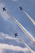 October, 23, 2016, Asaka, Saitama Prefecture, Japan: Japan's elite flying team, Blue Impulse performs aerial acrobatics during an annual military review held at the Asaka Training Area, a Japan Ground Self Defense Force (JSDF) military base on the outskirts of Tokyo. Blue Impulse is similar to America's Blue Angels and from 11 Squadron 4th Air Wing of the Japan Air Self Defense Force based at Matsushima Air Base. For this event, Prime Minister Shinzo Abe, top ranking Japanese brass and international dignitaries were in attendance to view Japan's military might. This included 4000 troops, 27 divisions, 280 vehicles and artillery, plus 50 aircraft of the Ground, Air, and Maritime branches of the JSDF. (Torin Boyd/Polaris).