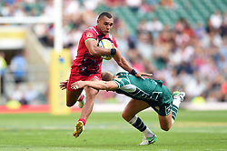 Joe Marchant of Harlequins fends Scott Steele of London Irish - Mandatory byline: Patrick Khachfe/JMP - 07966 386802 - 02/09/2017 - RUGBY UNION - Twickenham Stadium - London, England - London Irish v Harlequins - Aviva Premiership