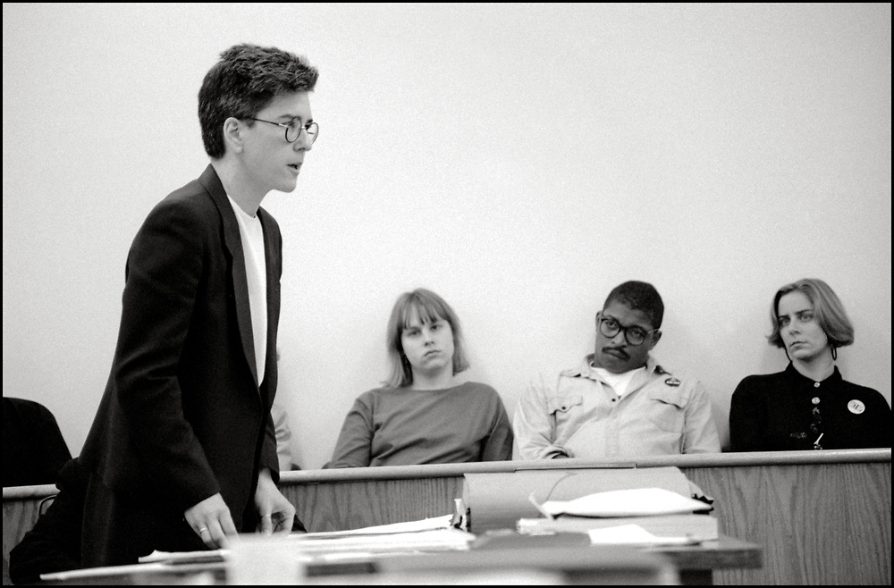 Jill Harris, one of the defense attorneys, addressing the court in the needle exchange trial in April of 1991, in New York City.<br /> <br /> The defendants, Gregg Bordowitz, Velma Campbell, Cynthia Cochran, Richard Elovich, Phillip Flores, Debra Levine, Kathryn Otter, Jon Stuen Parker, Monica Pearl and Dan Keith Williams were arrested on March 6, 1990 after they set up a table in Lower Manhattan and tried to give clean hypodermic needles to drug addicts to prevent them from getting AIDS. Most of the eight defendants were members of ACT UP (AIDS Coalition to Unleash Power).