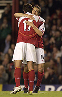 Fotball<br /> England 2004/2005<br /> Foto: SBI/Digitalsport<br /> NORWAY ONLY<br /> <br /> FA Barclays Premiership<br /> Arsenal v Everton<br /> 11th May, 2005<br /> <br /> Arsenal's goal scorer Mathieu Flamini celebrates with fellow goal scorer Edu