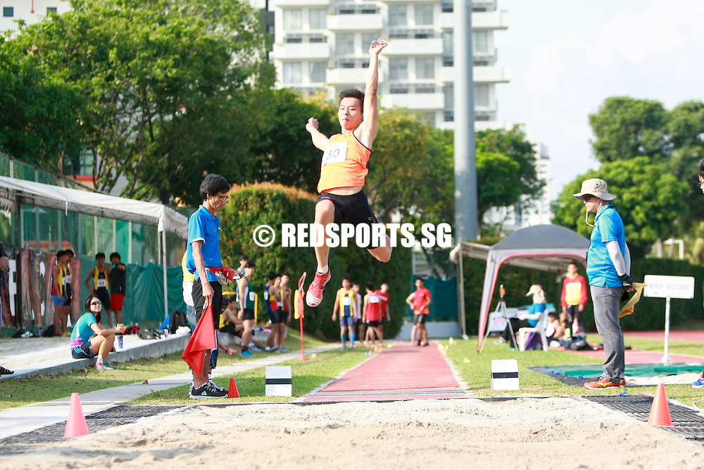 Bishan Stadium, Wednesday, April 13, 2016 — Joseph Johnathan Zhao of Hwa Chong Institution clinched the A Division Boys' long jump gold at the 57th National Schools Track and Field Championships with an impressive leap of 6.97 metres.<br /> <br /> Gary Wee of Singapore Sports School and Toh Wei Yu of Raffles Institution came in second and third, with 6.94m and 6.85m jumps respectively.