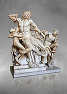 Statue group identified as as the Laocoon described by Pliny as a masterpiece made by the sculptors of Rhodes. The Laocoon depicts a scene from the Trojan War in which Athena and Poseidon sent two great serpants to wrap themselves around Laocoon and his two sons to kill them. Circa 40-30BC, Pope Clement XIV coillection, Vatican Museum Rome, Italy,  grey art background ..<br /> <br /> If you prefer to buy from our ALAMY STOCK LIBRARY page at https://www.alamy.com/portfolio/paul-williams-funkystock/greco-roman-sculptures.html . Type -    Vatican    - into LOWER SEARCH WITHIN GALLERY box - Refine search by adding a subject, place, background colour, museum etc.<br /> <br /> Visit our CLASSICAL WORLD HISTORIC SITES PHOTO COLLECTIONS for more photos to download or buy as wall art prints https://funkystock.photoshelter.com/gallery-collection/The-Romans-Art-Artefacts-Antiquities-Historic-Sites-Pictures-Images/C0000r2uLJJo9_s0c