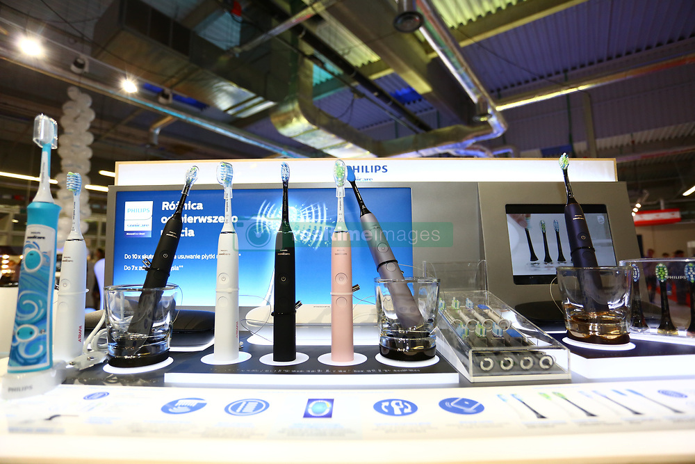 April 13, 2018 - Nadarzyn, Poland - Consumer Electronics Show started at PTAK Warsaw Expo center, presenting home appliances, shows and entertainment electronics. (Credit Image: © Madeleine Lenz/Pacific Press via ZUMA Wire)