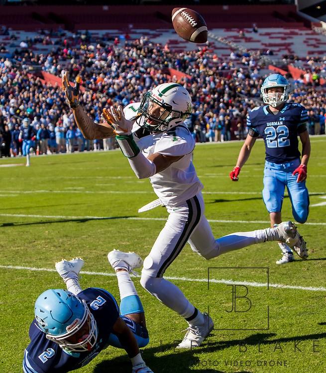 Dutch Fork Silver Foxes wide receiver Jalin Hyatt (7) cannot come up with the pass in the end zone as Dorman Cavaliers Dee Rice-Williams (2) defends in the Class AAAAA State Championship Game at Williams-Brice Stadium in Columbia, SC. Dutch Fork wins their 4th straight state championship at Williams Brice Stadium. Photos ©JeffBlakePhoto.com