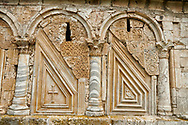 Close up picture & image medieval Georgian architectural stone work of the medieval Khobi Monastery and Khobi Georgian Orthodox Cathedral, 10th -13th century, Khobi, Georgia. .<br /> <br /> Visit our MEDIEVAL PHOTO COLLECTIONS for more   photos  to download or buy as prints https://funkystock.photoshelter.com/gallery-collection/Medieval-Middle-Ages-Historic-Places-Arcaeological-Sites-Pictures-Images-of/C0000B5ZA54_WD0s<br /> <br /> Visit our REPUBLIC of GEORGIA HISTORIC PLACES PHOTO COLLECTIONS for more photos to browse, download or buy as wall art prints https://funkystock.photoshelter.com/gallery-collection/Pictures-Images-of-Georgia-Country-Historic-Landmark-Places-Museum-Antiquities/C0000c1oD9eVkh9c