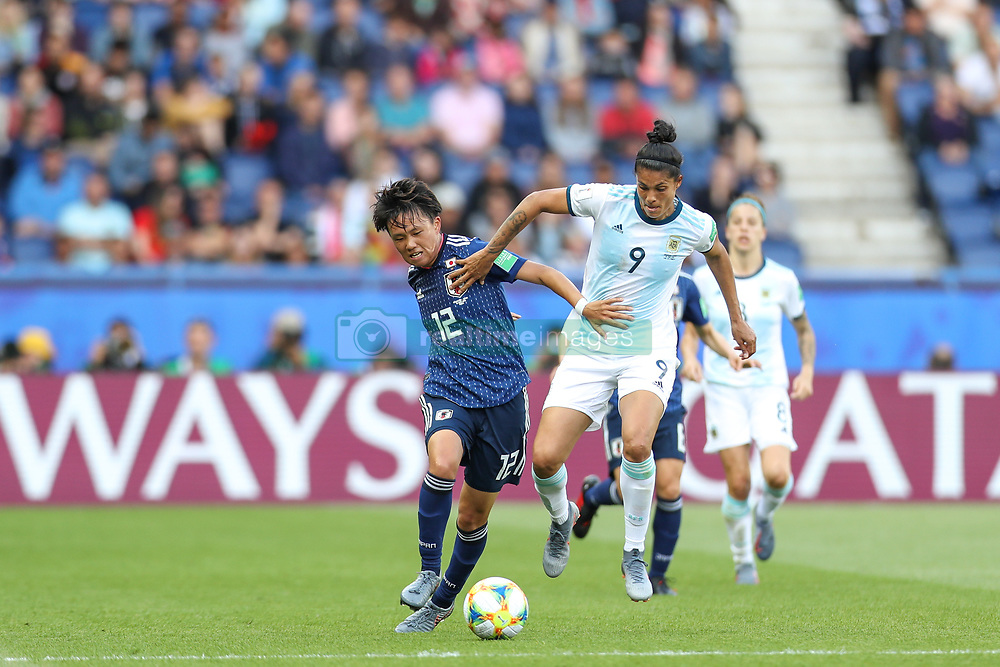 June 10, 2019: Paris, France: Sole Jaimes of Argentina and Minami  of Japan game valid for group D of the first phase of the Women's Soccer World Cup in the Parc Des Princes. (Credit Image: © Vanessa Carvalho/ZUMA Wire)