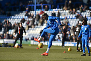 Blackpool Forward, Armand Gnanduillet (11) warms up during the EFL Sky Bet League 1 match between Portsmouth and Blackpool at Fratton Park, Portsmouth, England on 24 February 2018. Picture by Adam Rivers.