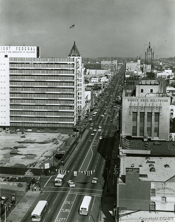 1958 Looking east on Hollywood Blvd. from Orange Dr.