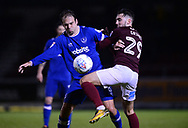 Brett Pitman of Portsmouth (l) battles with Matt Grimes of Northampton Town. EFL Skybet Football League one match, Northampton Town v Portsmouth at the Sixfields Stadium in Northampton on Tuesday 12th September 2017. <br /> pic by Bradley Collyer, Andrew Orchard sports photography.