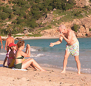 **EXCLUSIVE**.Steve Martin & Martin Short with heir families having a body surfing match where Steve Martin was always winning and their girlfriends were sitting on the sand taking photos and being the judge of the winnings.Salines Beach, St. Barth, Caribbean.Thursday, January, 15, 2003.Photo By Celebrityvibe.com/Photovibe.com...