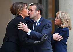 French President Emmanuel Macron bid farewell to US First Lady Melania Trump as they leave the Elysee Palace in Paris on November 10, 2018 following bilateral talks on the sidelines of commemorations marking the 100th anniversary of the 11 November 1918 armistice, ending World War I. Photo by Christian Liewig/ABACAPRESS.COM