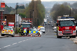 Sheffield Thursday 01 April:<br /> Fire fighters and police  at a scrap metal fire on Carlisle Street in Sheffield. Large plumes of smoke are being caused by a blaze near Burngreave and South Yorkshire Fire and Rescue Service are advising local people to keep their doors and windows closed <br /> <br /> 1 April 2021<br /> <br /> www.pauldaviddrabble.co.uk<br /> All Images Copyright Paul David Drabble - <br /> All rights Reserved - <br /> Moral Rights Asserted -