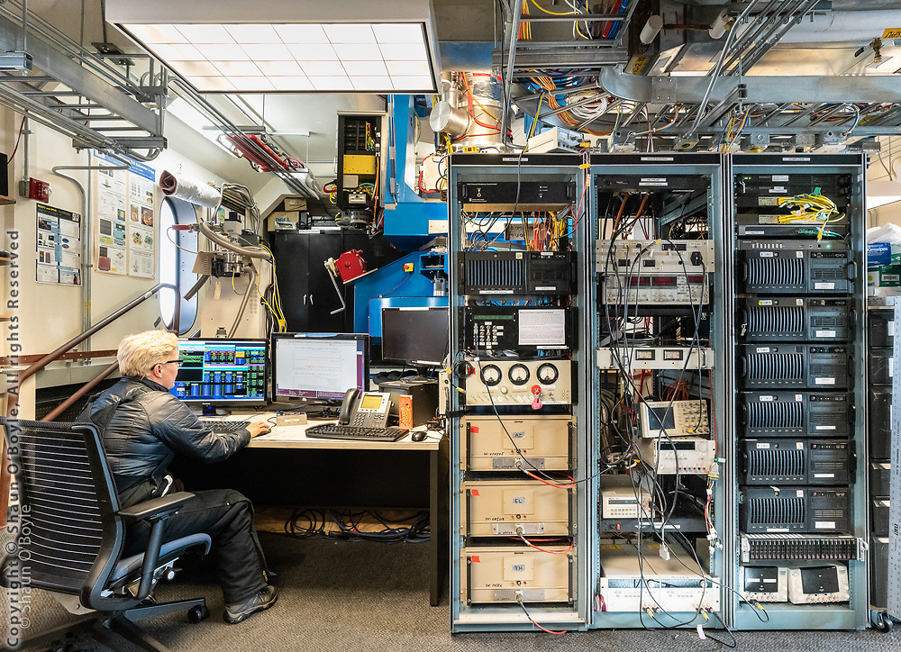 BICEP3 telescope and computers in the Dark Sector Lab
