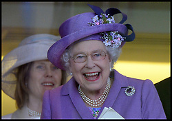 HM The Queen smiles in the Royal Box after winning the Gold Cup with her horse Estimate in the Royal Box at Royal Ascot 2013 Ascot, United Kingdom,<br /> Thursday, 20th June 2013<br /> Picture by Andrew Parsons / i-Images