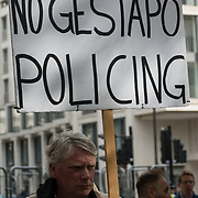 Speaker David Icke of Covid conspiracy theorist Australia tyranny Government disguised as Public Health is a test for New World Order outside Australia House, London, UK. October 1st 2021.