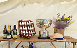 "© Licensed to London News Pictures. 11/08/2013. The trophies and prizes, along with a panama hat at the annual ""Thames Punting Club Regatta""  on the River Thames at Bray Reach, Maidenhead, Berkshire, UK. Now in it's 128th year it is considered The World Championship as it is the only punting  Regatta in The World. There are various categories such as Gentlemen's Double, Mixed Double, Ladies, Gentlemen & Junior Championships.  Photo credit:  Mike King/LNP"