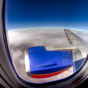 Looking out the window with my fisheye lens on a Southwest Airlines flight from Kansas City to Phoenix on February 16, 2011.