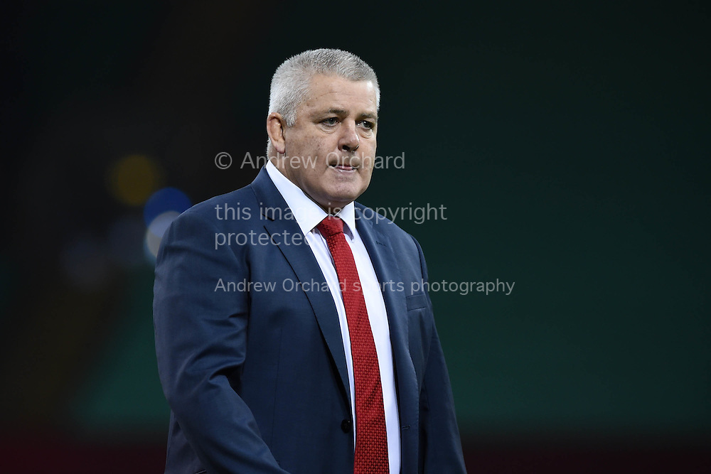 Warren Gatland the Wales head coach looks on. Dove Men series 2014, autumn international rugby, Wales v Fiji at the Millennium Stadium in Cardiff, South Wales on Saturday 15th November 2014.<br /> pic by Andrew Orchard, Andrew Orchard sports photography.