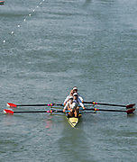 Plovdiv, Bulgaria, 11th May 2019, FISA, Rowing World Cup 1, USA1 W4-, Bow, Victoria OPITZ, Meghan MUSNICKI, Brooke MOONEY and Molly BRUGGEMAN, make their way to the start for their repechage, of the Women's Fours, 1000m Mark, Bridge, [© Peter SPURRIER]