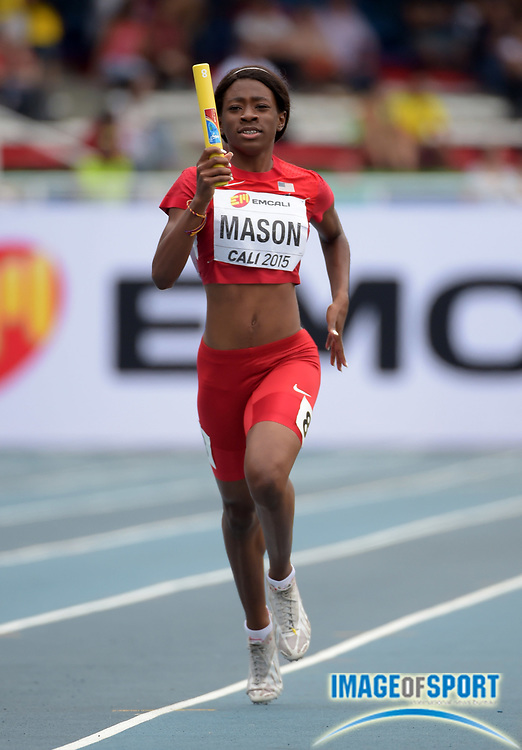 Jul 18, 2015, Cali, Columbia; Symone Mason runs the second leg of the USA mixed 4 x 400m relay that won its heat in 3:22.65 for the top qualifying time during the 2015 IAAF World Youth Championships at Estadio Olimpico Pascual Guerrero.