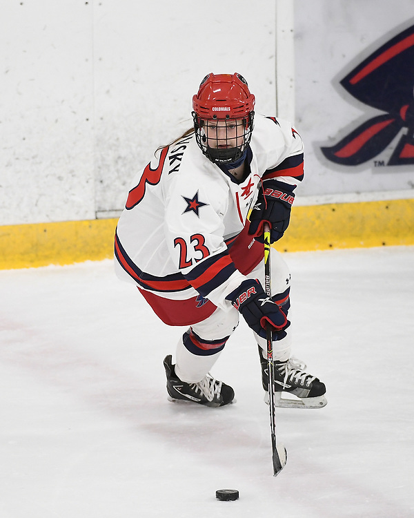 PITTSBURGH, PA - JANUARY 30: Ellie Marcovsky #23 of the Robert Morris Colonials skates with the puck in the first period during the game against the RIT Tigers at Clearview Arena on January 30, 2021 in Pittsburgh, Pennsylvania. (Photo by Justin Berl/Robert Morris Athletics)