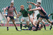 Twickenham, Lancashire, 27th May 2018. Bill Beaumont Division 1 Final, Tom Banks, breaks with the ball Rob CONQUEST, reaching out to tackle, during the Rugby Match,  Lancashire vs Hertfordshire,    RFU. Stadium, Twickenham. UK.  <br /> <br /> © Peter Spurrier/Alamy  Live News