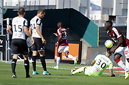 Younousse SANKHARE (Girondins de Bordeaux) scored a goal and celebrated it, Alexandre LETELLIER (SCO Angers), Alexandre MENDY (Girondins de Bordeaux), Romain THOMAS (SCO Angers), Pierrick CAPELLE (SCO Angers) during the French championship L1 football match between SCO Angers and Bordeaux on August 6th, 2017 at Raymond-Kopa stadium, France - PHOTO Stéphane Allaman / ProSportsImages / DPPI