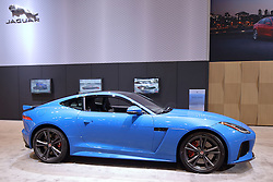 09 February 2017: Jaguar 2 door coupe F Type<br /> <br /> First staged in 1901, the Chicago Auto Show is the largest auto show in North America and has been held more times than any other auto exposition on the continent.  It has been  presented by the Chicago Automobile Trade Association (CATA) since 1935.  It is held at McCormick Place, Chicago Illinois<br /> #CAS17