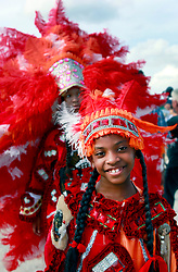27 April 2013. New Orleans, Louisiana,  USA. .New Orleans Jazz and Heritage Festival. Lyshawnreal Watson (7 yrs) of the 'Mohicans' tribe of Mardi Gras Indians..Photo; Charlie Varley.