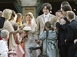 Justin Trudeau, son of the late Prime Minister Pierre Trudeau, leaves the church with  his new bride Sophie Gregoire after their marriage ceremony in Montreal Saturday, May 28, 2005.(CP PHOTO/Ryan Remiorz) /ABACAPRESS.COM    521043_035 MONTREAL Canada