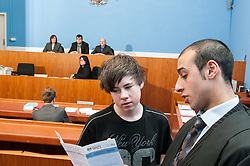 A defendant being advised how to pay a fine in Sheffield Magistrates' Court