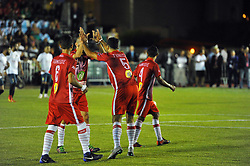 October 6, 2017 - Nabeul, Tunisia - The players of the Tunisian team who celebrate the opening of the score during the opening match against Portugal....Ceremonie the kickoff of the World Cup mini-football, held from 6 to 15 October in Nabeul (60 km south of Tunis) Tunisia this Friday, October 6, 2017 with the participation of 24 teams from different countries world. (Credit Image: © Chokri Mahjoub via ZUMA Wire)