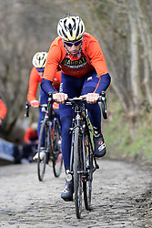 March 30, 2018 - Oudenaarde, Belgique - OUDENAARDE, BELGIUM - MARCH 30 : NIBALI Vincenzo (ITA)  of Bahrain - Merida on the famous Koppenberg climb during a training session prior to the Flanders Classics UCI WorldTour 102nd Ronde van Vlaanderen cycling race with start in Antwerpen and finish in Oudenaarde on March 30, 2018 in Oudenaarde, Belgium, 30/03/2018 (Credit Image: © Panoramic via ZUMA Press)