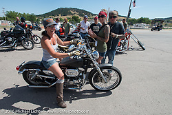 Hilary Goloda on the Annual Cycle Source and Michael Lichter Rides (combined this year) left from the new Broken Spoke area of the Iron Horse Saloon during the Sturgis Black Hills Motorcycle Rally. SD, USA.  Wednesday, August 10, 2016.  Photography ©2016 Michael Lichter.