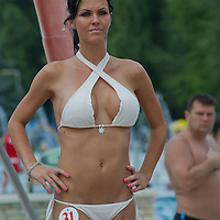Diana Kovacs attends the Miss Bikini Hungary beauty contest held in Budapest, Hungary on August 06, 2011. ATTILA VOLGYI